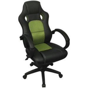 võidusõiduistmega juhi kontoritool roheline