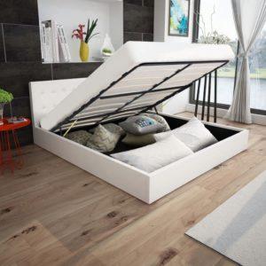 valge kunstnahast hüdraulilise hoiukastiga voodi 180 x 200 cm