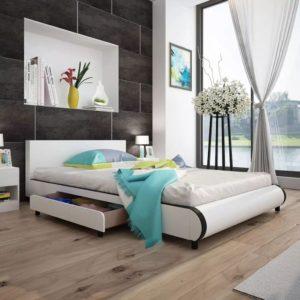 valge kunstnahast voodi kahe sahtliga 140 x 200 cm