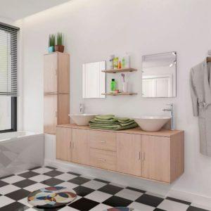 vidaXL-i üheksaosaline vannitoa mööbli- ja valamukomplekt beež