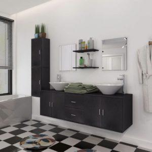 vidaXL-i üheksaosaline vannitoa mööbli- ja valamukomplekt must