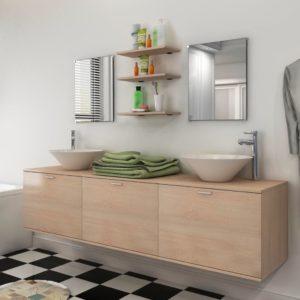 vidaXL-i kaheksaosaline vannitoa mööbli- ja valamukomplekt beež