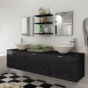 vidaXL-i kaheksaosaline vannitoa mööbli- ja valamukomplekt must