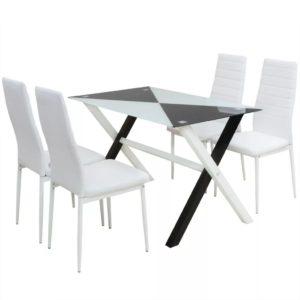 viieosaline söögilaua ja kunstnahast toolide komplekt