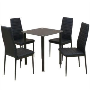 viieosaline söögilaua ja tooli komplekt must
