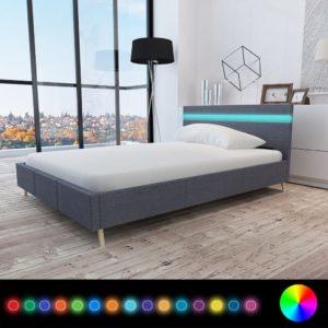 voodi LED-tuledega 140 x 200 cm riidest polstriga
