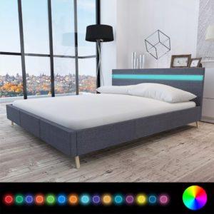 voodi LED-tuledega 160 x 200 cm riidest polstriga