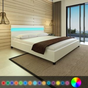 voodi LED-tuledega 180 x 200 cm kunstnahk