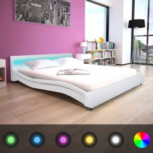 voodiraam LED-iga 160 x 200 cm kunstnahk valge