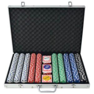 1000 žetooniga pokkerikomplekt alumiiniumkohvris