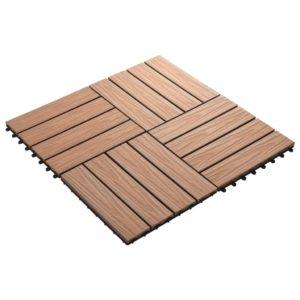 11 tk terrassiplaadid kõrgreljeefne WPC 30x30 cm 1 m² helepruun