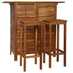 3-osaline baarilaua ja toolide komplekt