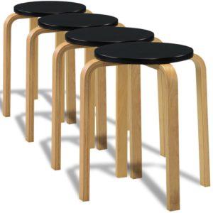 4 musta üksteise otsa laotavat tugevast painutatud puidust taburetti