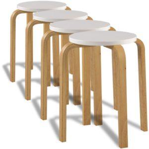 4 valget üksteise otsa laotavat tugevast painutatud puidust taburetti