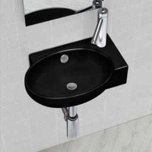 Keraamiline kraani- ja ülevoolu avaga vannitoavalamu