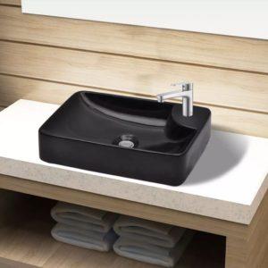 Keraamiline kraaniauguga vannitoavalamu must