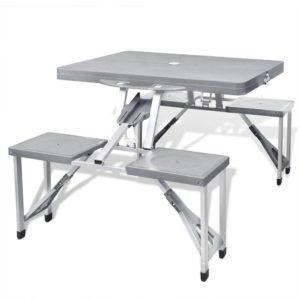 Kokkupandav alumiiniumist matkakomplekt laud + 4 tooli hall