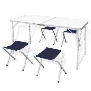 Kokkupandav alumiiniumist matkalaud 120 x 60 cm + 4 tooli