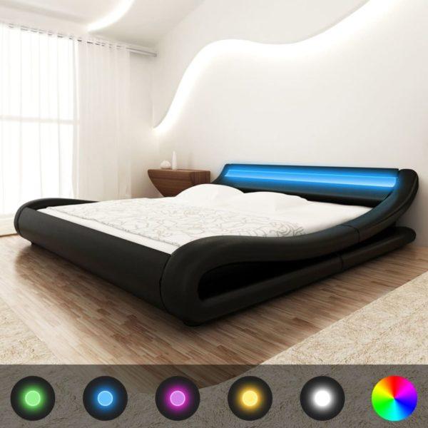Kunstnahast must voodi LED valgustusega + madrats 140 x 200 cm