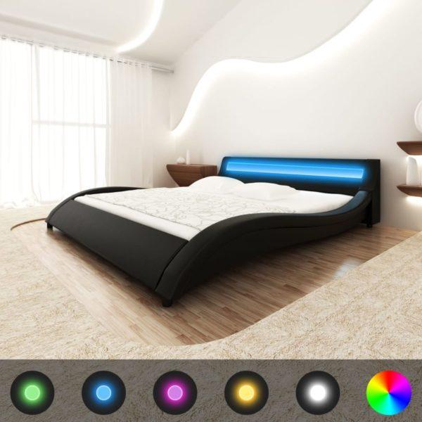 Kunstnahast voodi LED riba ja madratsiga 180 x 200 cm must
