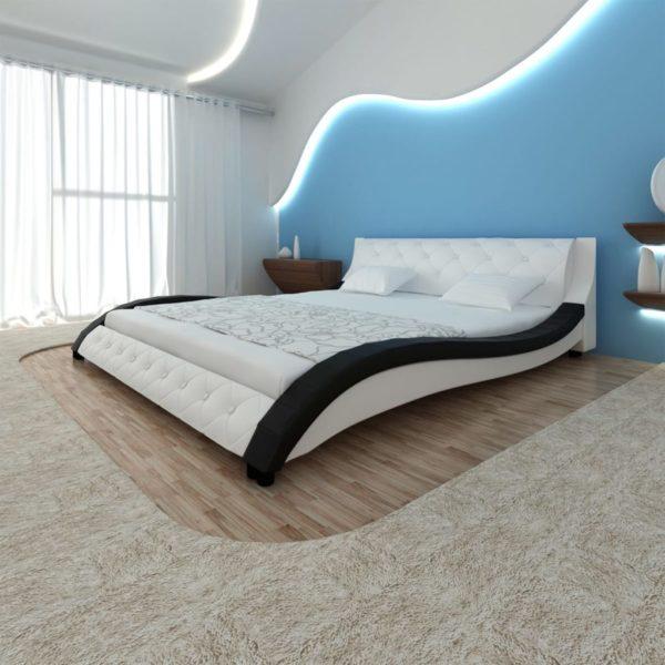 Kunstnahast voodi LED riba ja madratsiga 180 x 200 cm must/valge