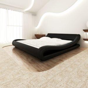 Kunstnahast voodi kaarjas 180 x 200 cm must + Memory Foam madrats