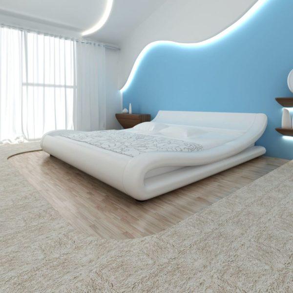 Kunstnahast voodi valge + madrats 140 x 200 cm