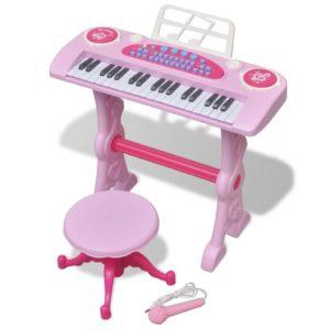 Laste mängusüntesaator tooli ja mikrofoniga