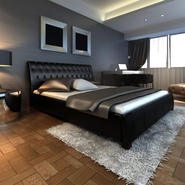 Luksuslik kumer kunstnahast voodi madratsiga 200 x 180 cm must