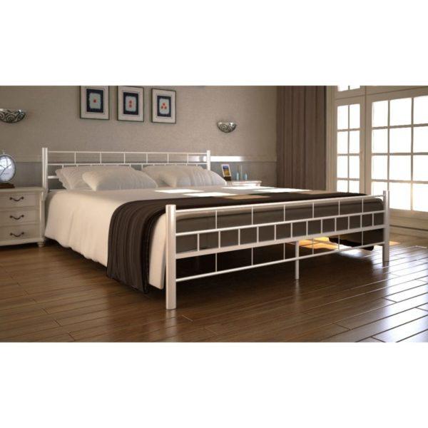 Metallraamiga voodi valge + madrats 140 x 200 cm