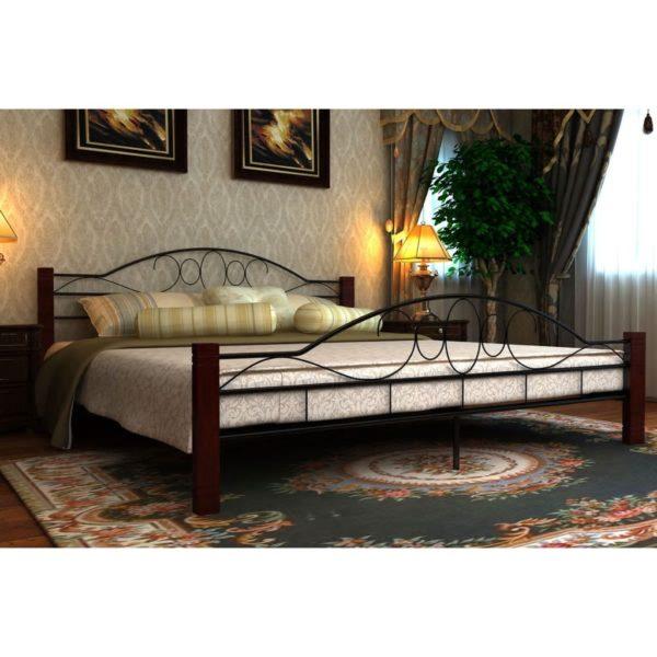 Must ja punakaspruun metallist voodi madratsiga 140 x 200 cm