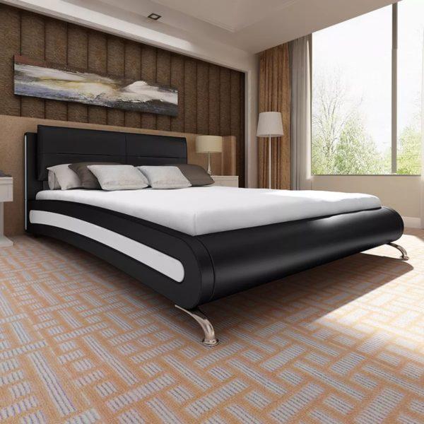 Must-valge kunstnahast voodi 180 x 200 cm ja madrats