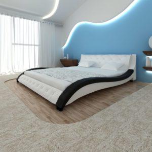 Must-valge kunstnahast voodi Memory Foam madratsiga 200 x 180 cm