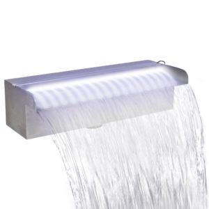Ristkülikukujuline basseini purskkaev LED-tuledega roostevabast terasest 30 cm
