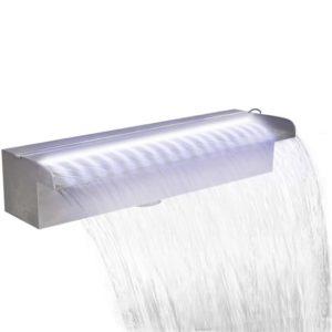 Ristkülikukujuline basseini purskkaev LED-tuledega terasest 45 cm