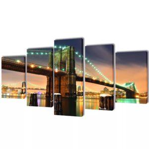 Seinamaalikomplekt lõuendil Brooklyni sillaga