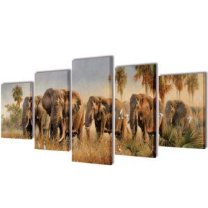 Seinamaalikomplekt lõuendil elevantidega
