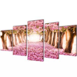 Seinamaalikomplekt lõuendil kirsiõitega