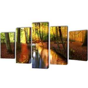 Seinamaalikomplekt lõuendil metsaga