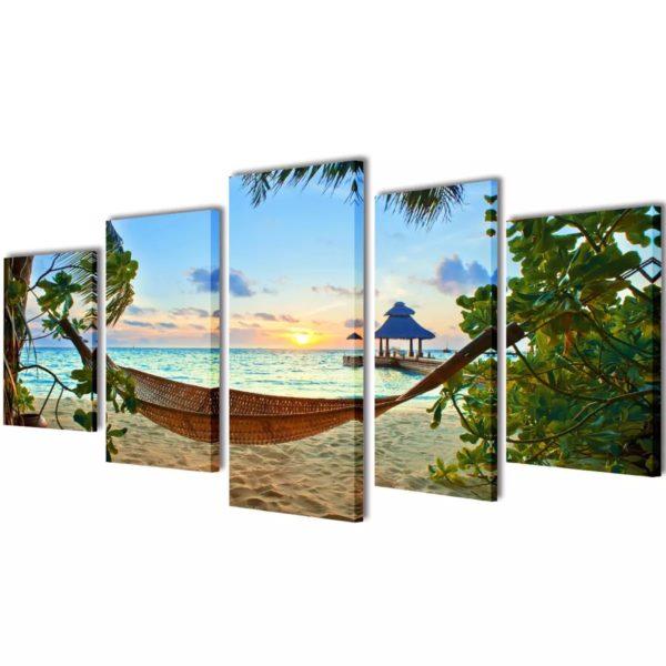Seinamaalikomplekt lõuendil võrkkiigega rannas