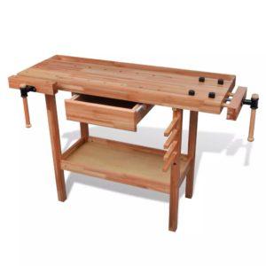 Täispuidust puusepa töölaud sahtel + 2 x kruustangid