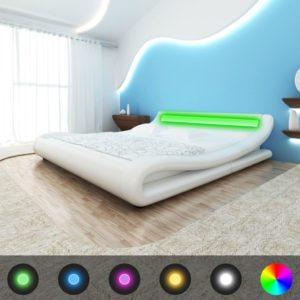 Valge kunstnahast voodi LED-tuledega 180 x 200 cm + madrats