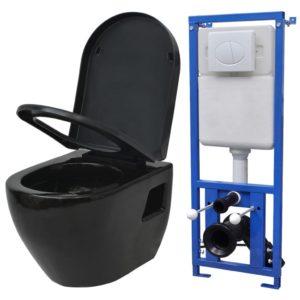 VidaXLi seinale kinnituv loputuskastiga keraamiline must WC-pott