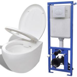 VidaXLi seinale kinnituv peidetud loputuskastiga keraamiline valge WC-pott