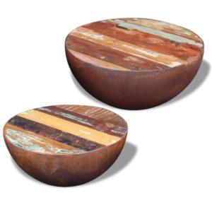 kaheosaline taastatud puidust kausikujuliste kohvilaudade komplekt