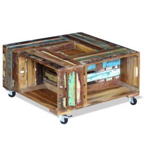 kohvilaud taastatud puidust 70 x 70 x 35 cm