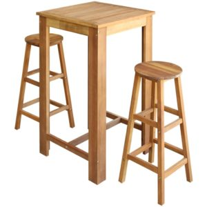kolmeosaline baarilaua ja toolide komplekt akaatsiapuidust
