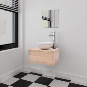 kolmeosaline vannitoamööbli ja valamu komplekt beež