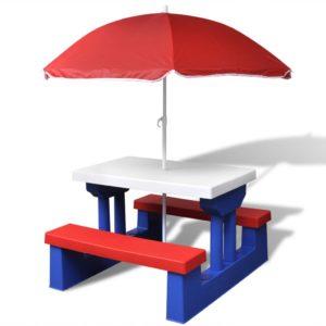 laste piknikulaud päikesevarjuga