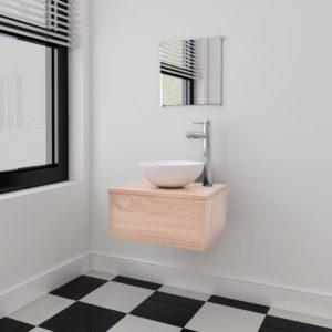 neljaosaline kraani ja valamuga vannitoamööbli komplekt